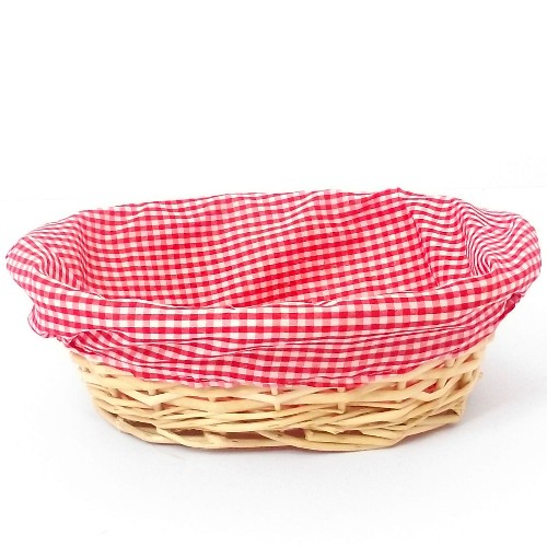 30cm Red  Gingham Lined Oval Basket