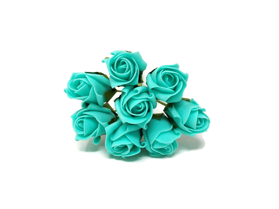 8 Head Foam Rose Bud Bunch - Tiffany Blue