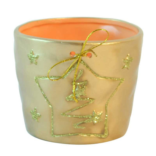 Gold Christmas Star Flower Pot 11 x 14cm