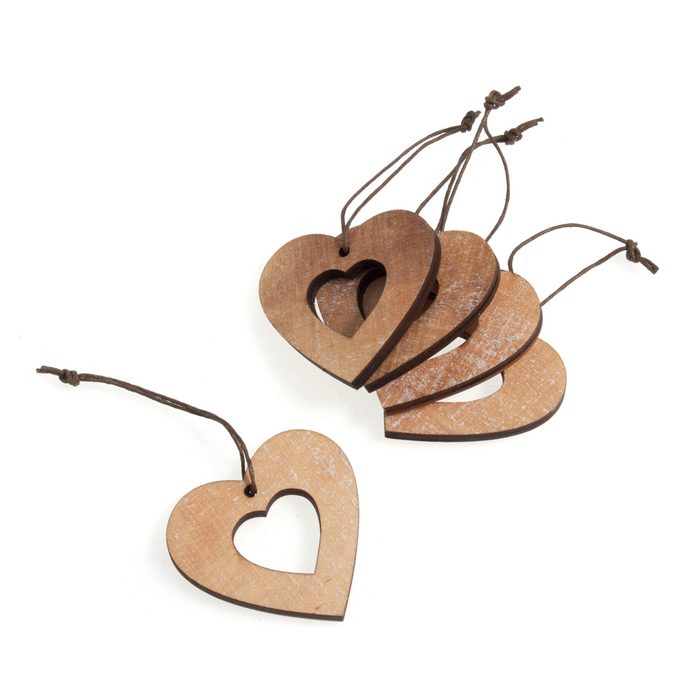 Small Hanging Wooden Hearts With String x 5