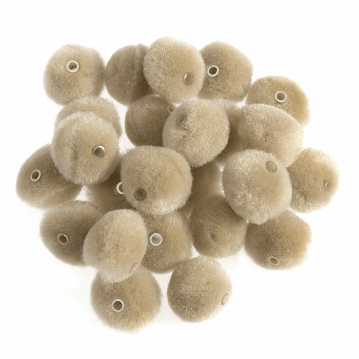 Pom Poms with Hole 12mm x  50 - Beige