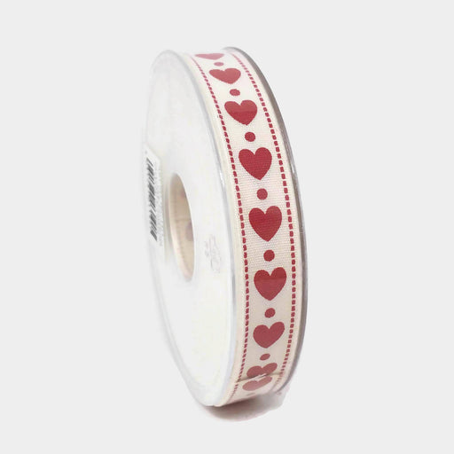 Cream & Red Heart Ribbon - 16mm x 20m