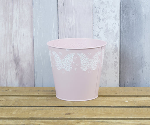 Matt Pink Embossed Butterfly Zinc Planter - 18 x 16.5cm