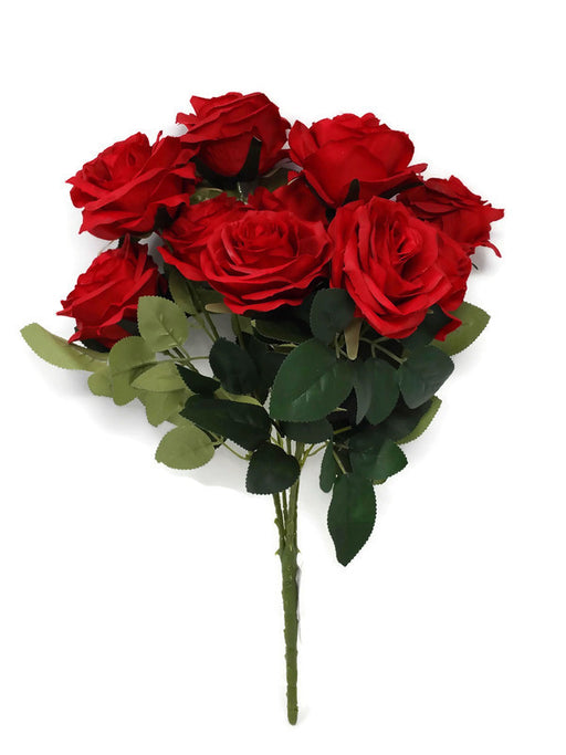 10 Head Open Rose Bush - Red