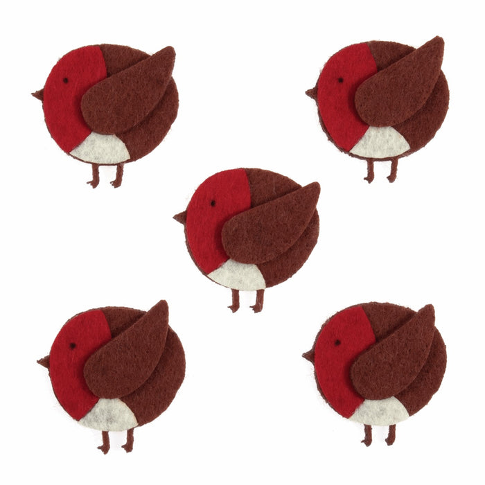 Felt Craft Embellishment - Robin Stickers - Pack of 5
