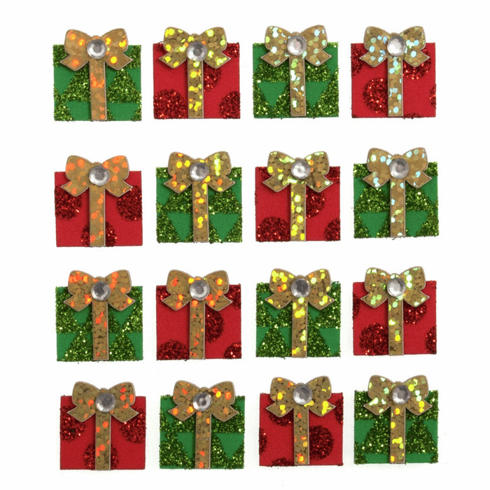 Sparkly Glitter & Gem Craft Stickers x 16 - Christmas Parcel