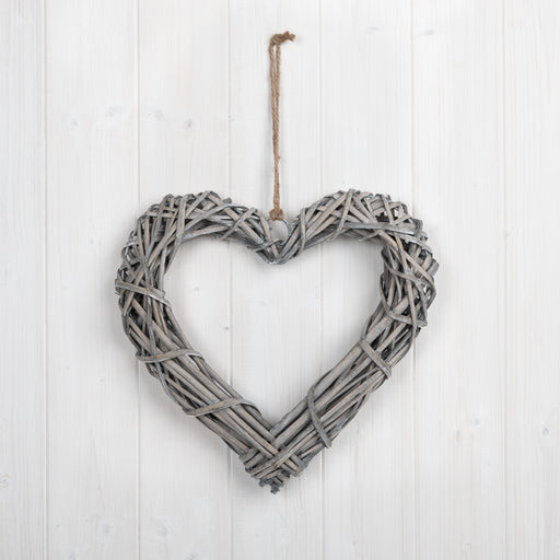 30cm Grey Willow Heart