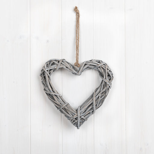 20cm Grey Willow Heart