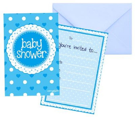 8 Baby Shower Invites with Envelopes - Blue