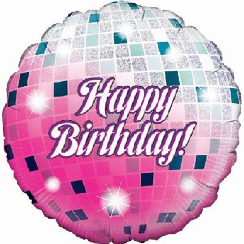 "18"" Foil Balloon - Happy Birthday Glitter Ball"