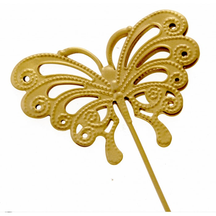 Butterfly Shaped Flower Girl Wedding Day Wand - Gold - 25cm