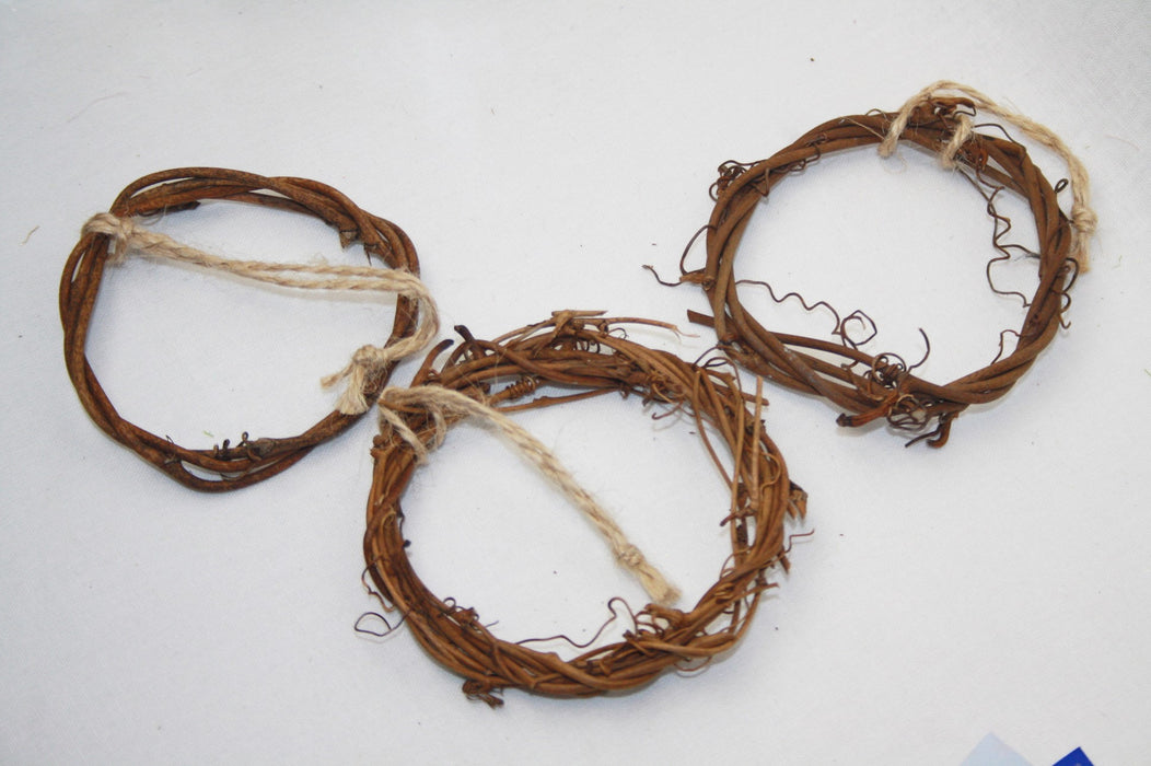 Mini Rustic Vine Wreaths - Pack of 3
