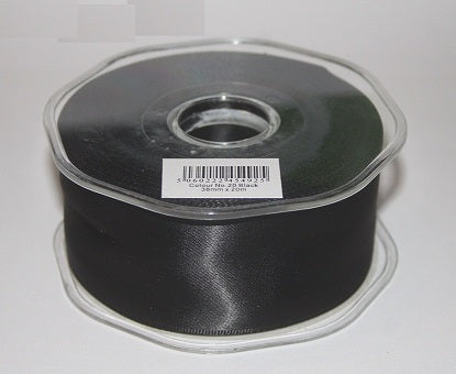 38mm x 20m Double Faced Black Satin Ribbon