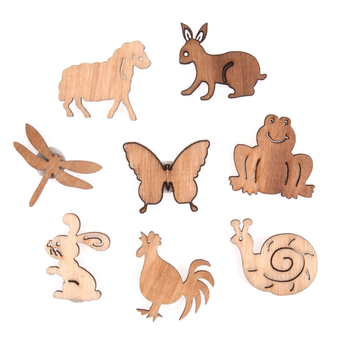Natural Craft Embellishment - Wooden Animals x 8