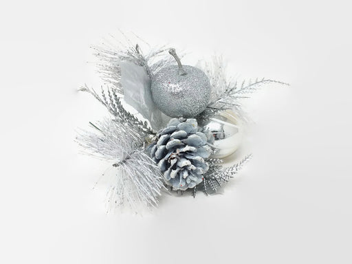 Glittered Silver and White Apple & Pine Cone Pick x 20cm