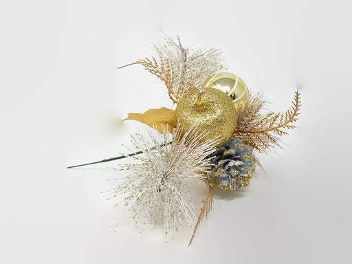 Glittered Gold and White Apple & Pine Cone Pick x 20cm