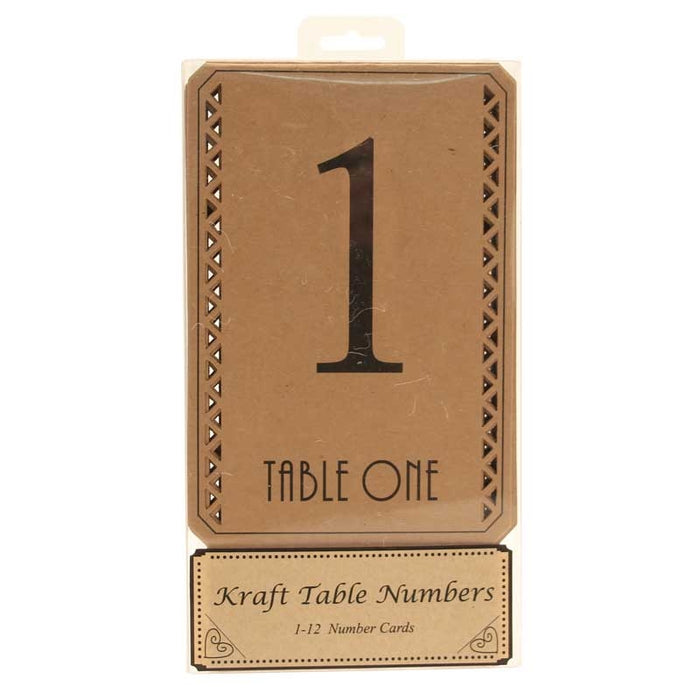 Natural kraft 1-12 Table Numbers