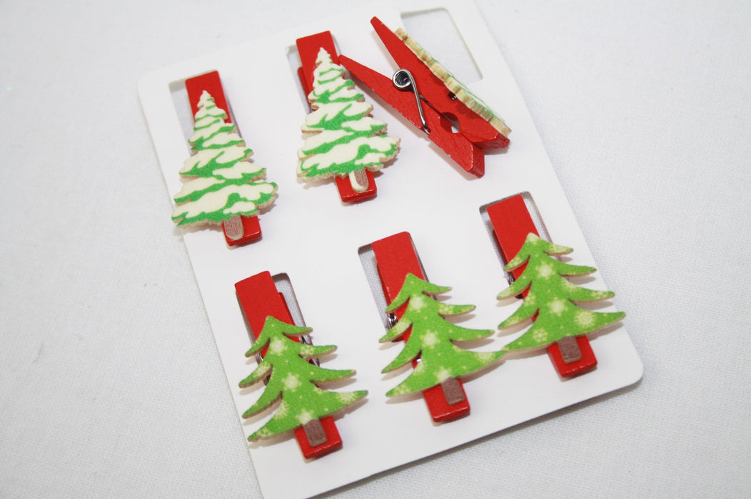 Christmas Mini Pegs - Assorted Tree Design Pegs x 6