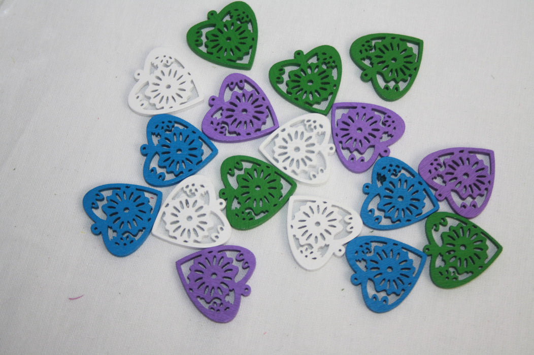 Filigree Cut Out Wooden Hearts Pack of 16