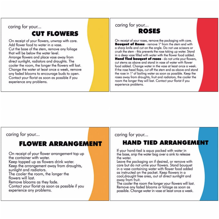 Flower Care Instruction Cards x 100 - Choice of Care Card