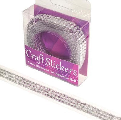 Craft Sticker Adhesive Roll 3 row Diamante 1m Clear/silver