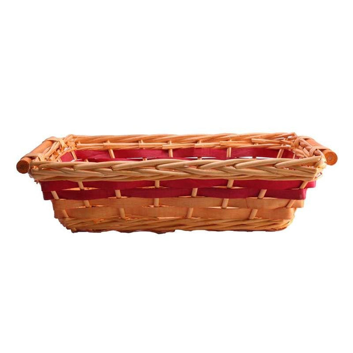 Rectangle Red Two Tone Tray Basket x 39cm - Unlined