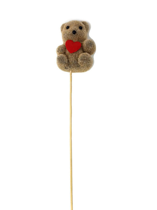 Teddy Bear with Red Heart on Wooden Stick x 57cm - Pack of 10