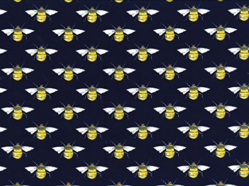 100% Cotton Bees on Navy Background Fabric 110cm Width