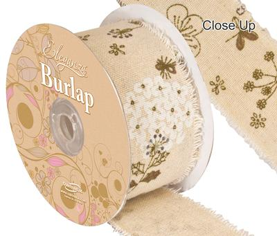 Burlap Frayed Edge Flower illustrated - 50mm x 10m