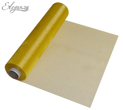 29cmx25m Organza Fabric Sheer Roll Gold