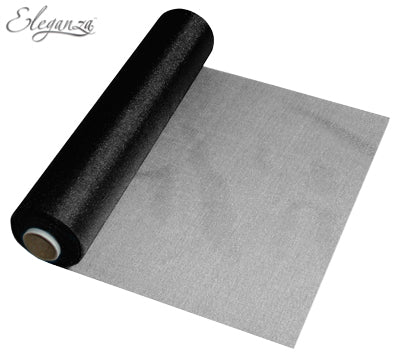 29cmx25m Organza Fabric Sheer Roll Black