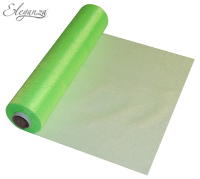 29cmx25m Organza Fabric Sheer Roll Lime