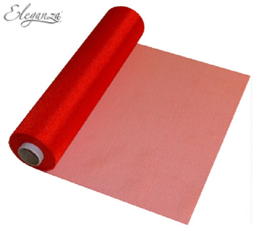 29cmx25m Organza Fabric Sheer Roll Red
