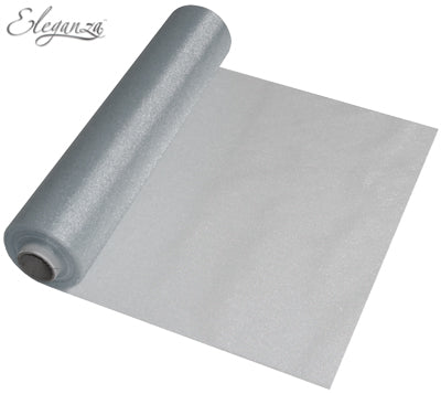 29cmx25m Organza Fabric Sheer Roll Silver