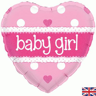 "18 "" Foil Balloon Pink Heart Baby Girl"