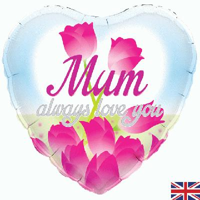 "Mother's Day  Foil Balloon x 18"" -  Mum, Always Love You"