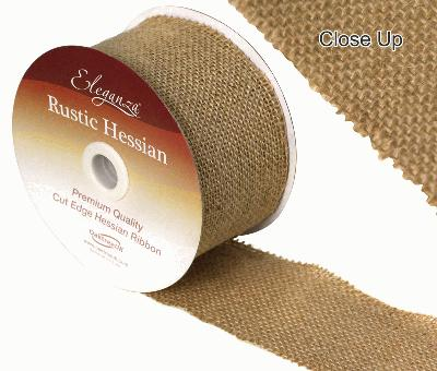 70mm x 9.1m Cut Edge Natural  Hessian Ribbon