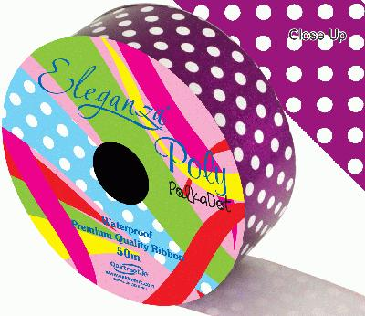50mm x 50m Polka Dot Florist Poly Ribbon - Purple