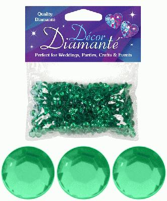 28g of Emerald Green Diamante Table Scatters