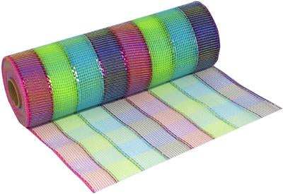 Deco Mesh Colourful Check 25cm x 9.1m (10yds)