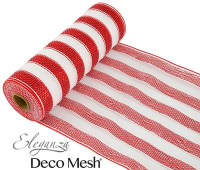 Deco Mesh  Red & White Stripe 25cm x 9.1m (10yds)