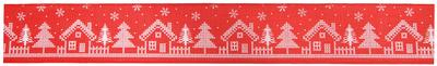 Wired Edge Christmas Houses Ribbon 63mm x 9.1m Red