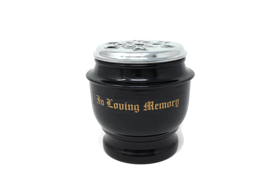 Black Urn Pot - In Loving Memory - 14cm