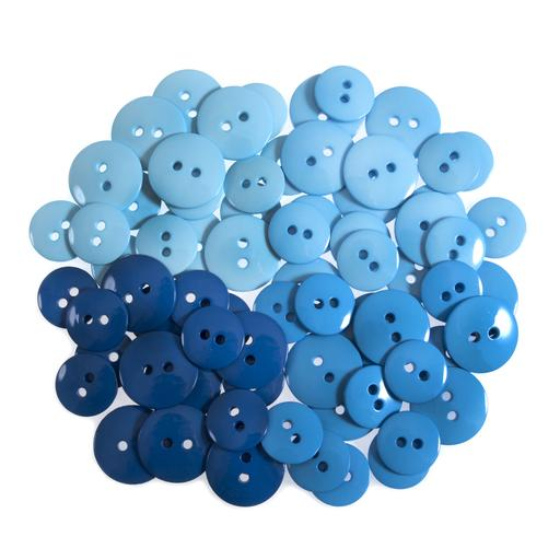 72 Craft Buttons - Shades of Blue