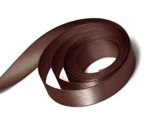 10mm x 20m Double Faced Chocolate Brown Satin Ribbon