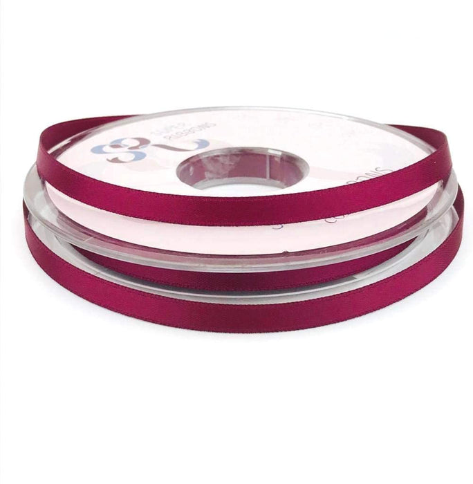 6mm x 20m Double Faced Burgundy Satin Ribbon