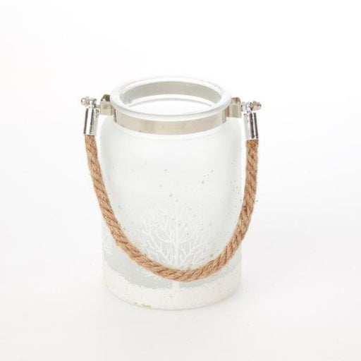 Frosted Melchior Votive Holder with Rope Handle