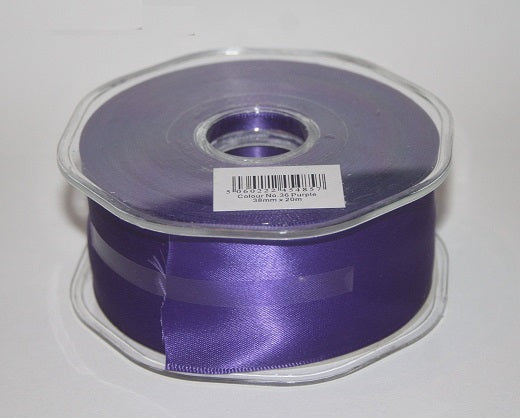 38mm x 20m Double Faced Purple Satin Ribbon