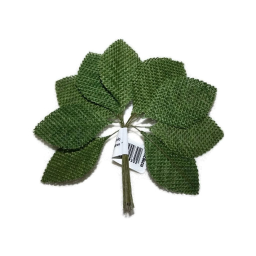 12 Stem Green Hessian Burlap Leaf Spray