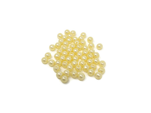 6mm Round Ivory Glass Pearl Beads x 60